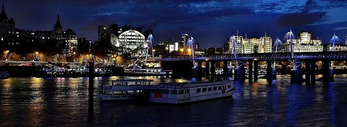 The London Skyline Victoria Embankment At Night. Panorama. Nikon D300s. DSC_1770-2773.
