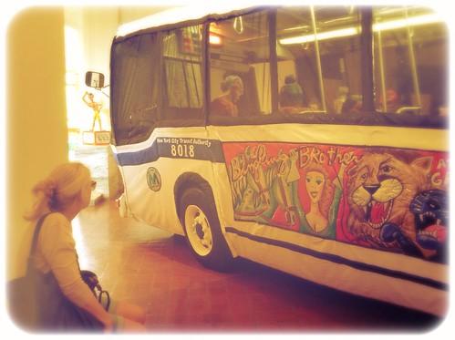 Red Grooms bus, Brattleboro Art Museum