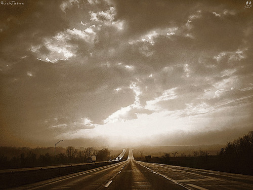 road sunset sky blackandwhite bw nature weather sepia clouds unitedstates rich roadtrip nostalgia journey farewell kansas bnw iphone tatum blogrodent richtatum iphoneography