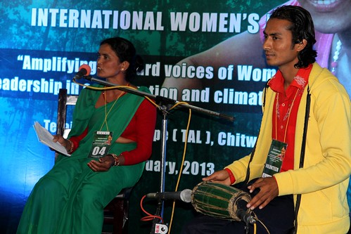 A female participant sings her original song on a folk tune. © WWF Nepal, Hariyo Ban Program/ Pallavi Dhakal
