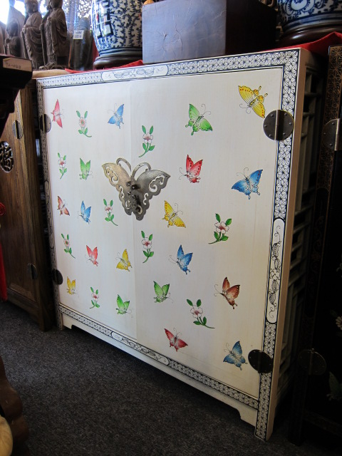 hand painted butterfly white shoe cabinet