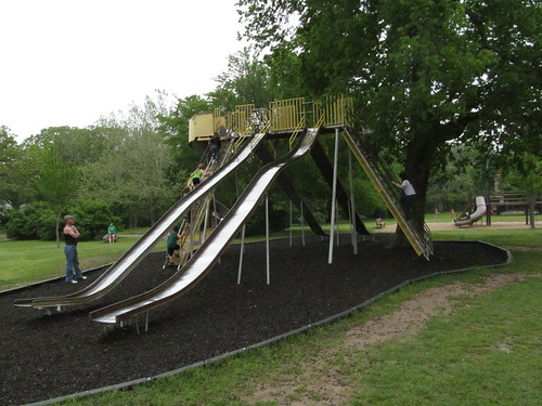 FUN-FUL big slides, with new guardrails and rubber mulch, at Riverside Park in Independence, Kansas, by Michael Bates