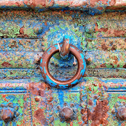 Indian #door handle at #Revival home design in Bee Caves, #Texas #colorful