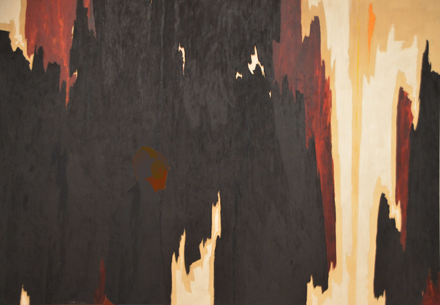 'Oneness' - Untitled, 1958, Clyfford Still with person viewing painting 5-4 bp
