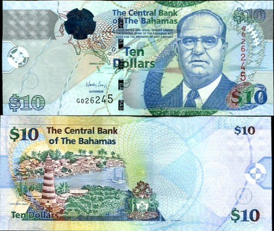10 Dolárov Bahamy 2009, Pick 73A