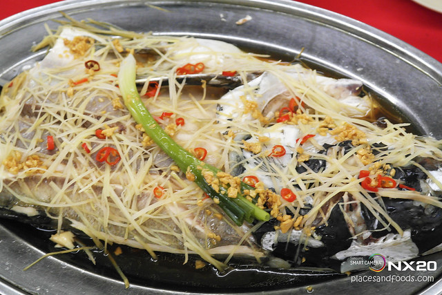 mun kee steamed fish head ginger and garlic