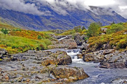 autumn mist mountains water river scotland colours highland glecoe