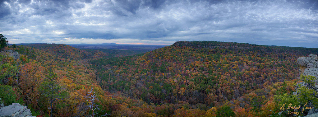 autumn trees sunset panorama mountains fall nature clouds forest outdoors fallcolor view hiking hills arkansas fallscenery