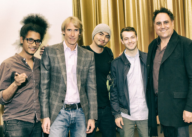 Michael Bay & Chad Oppenheim pose with students at Harvard Graduate School Of Design
