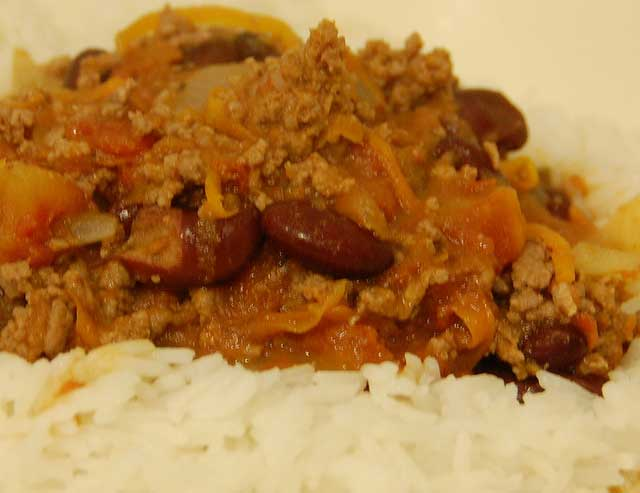 Beef mince with red kidney beans in a spicy sauce and on a bed of rice