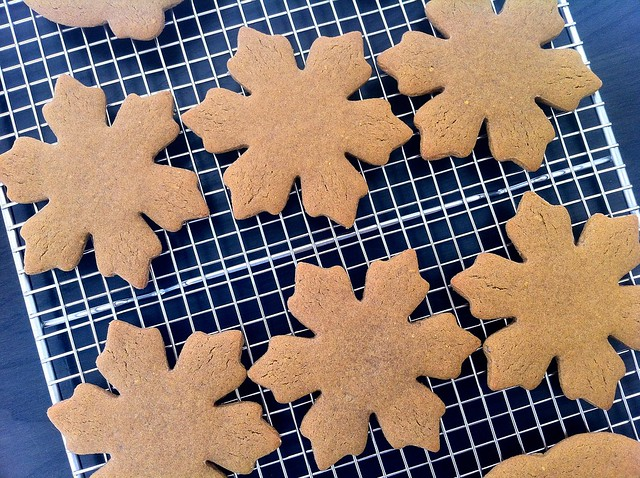 Gingerbread Snowflake Cutouts, Cooling