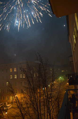 Berlin NYE fireworks in the sky