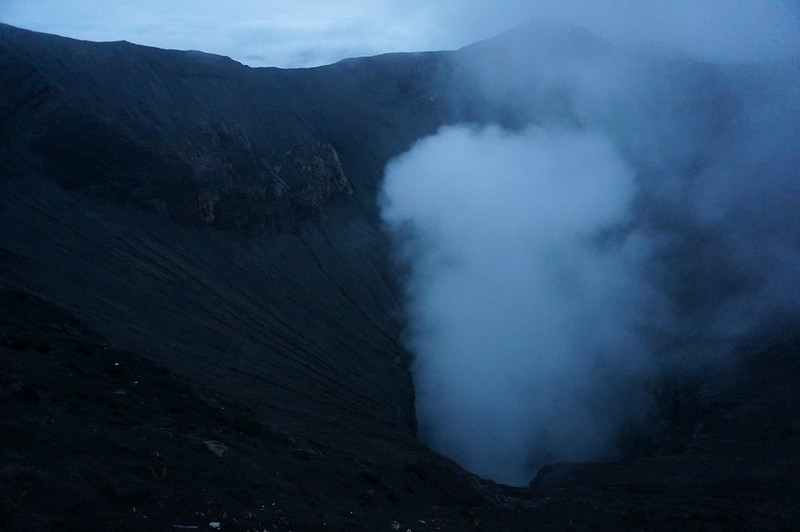 View inside the active volcano - Bromo from its crater rim.