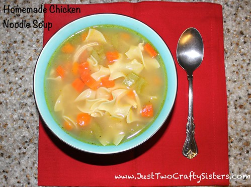 Homemade chicken noodle soup recipe.  Easy and good