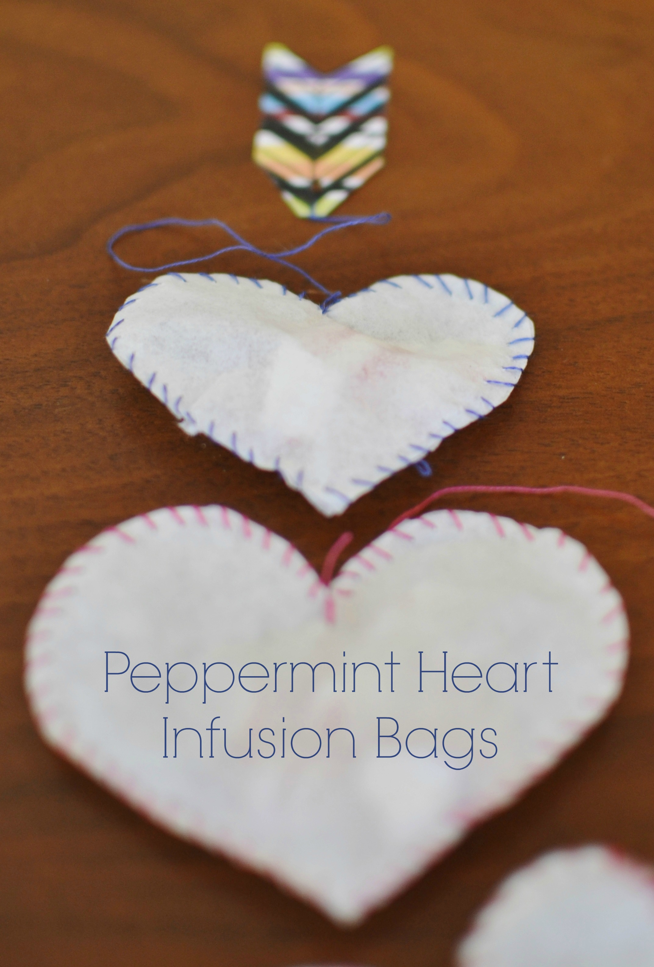 making peppermint heart infusion bags