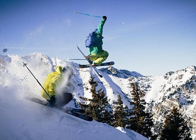 Powder leap at Alta