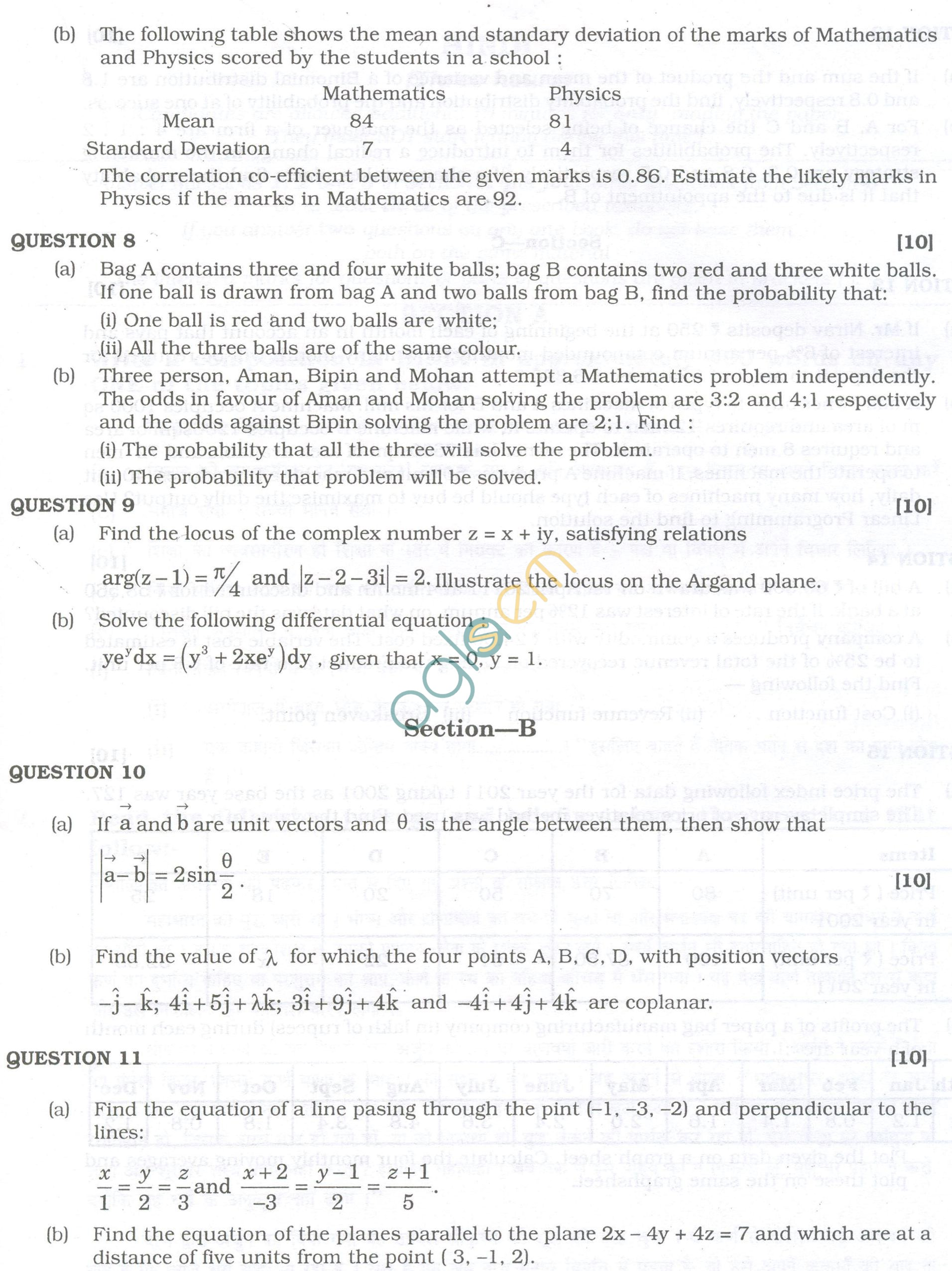 ISC Question Papers 2013 for Class 12 -Mathematics