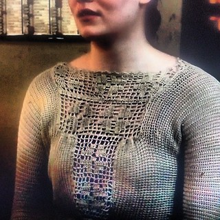 Enthralled with Ivy's sweater I spotted last night on Downton (ep 5; I'm behind)! I think it's knit with a gorgeous crochet inset. Soooo pretty! #crochetspotting