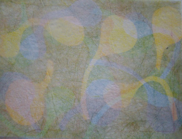 Monoprint on Lutradur (polyester) using acetate stencils