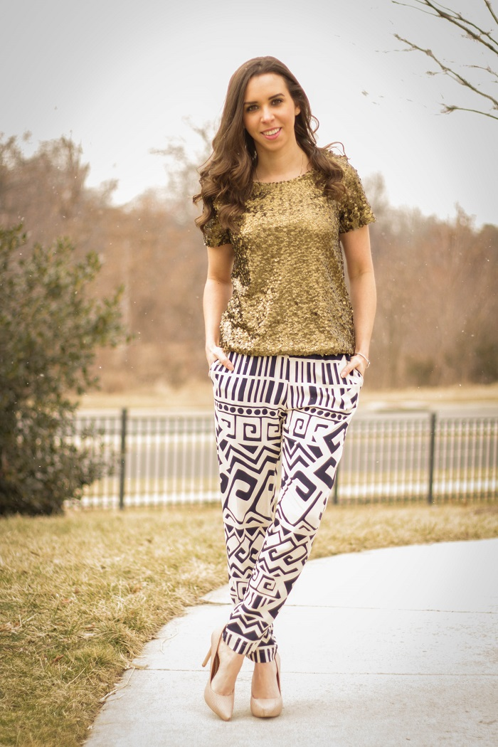 va darling. dc blogger. virginia blogger. copper sequins top. printed bottom. nude heels. street style.4