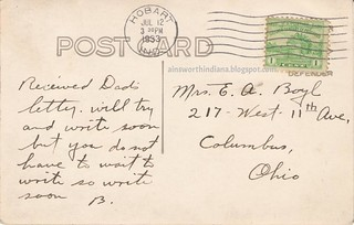 verso of postcard showing Along Lake George 1933.