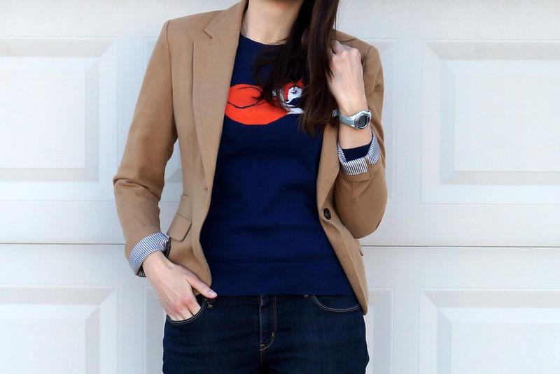 fox sweater + Target Merona blazer