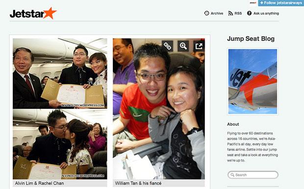 Alvin and Rachel's Plane Solemnisation Revisited on Jetstar's Jump Seat Blog - Alvinology