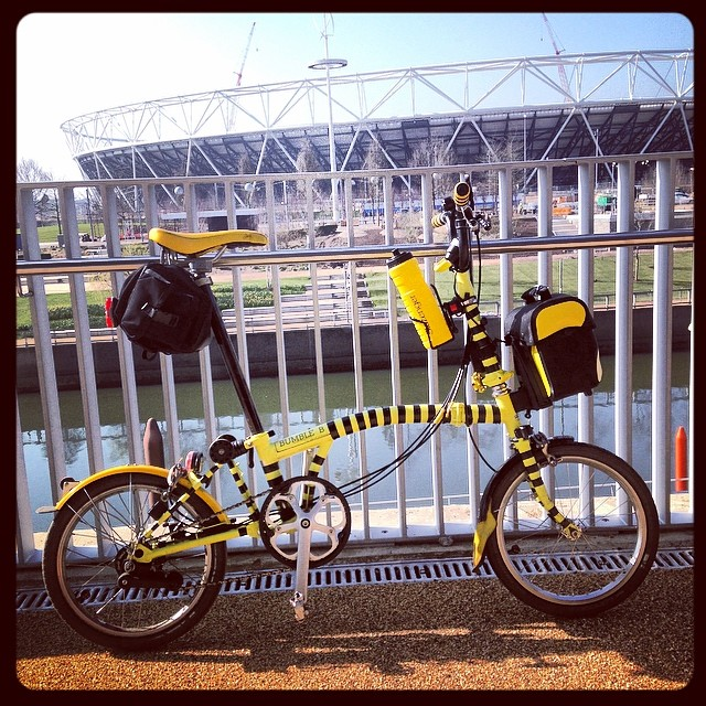 The legend visits the Olympic park #urban #brompton##Olympic #sunshine #cycling