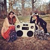 A Classic #BoomCase built in 2011 (custom for @mistermind ) at a lovely picnic party in ATL. Pic by @alliebashuk and @rubyvelle :) - #Suitcase is a rare #AmeilaEarhart - #picnic #party #atl #boombox #nature