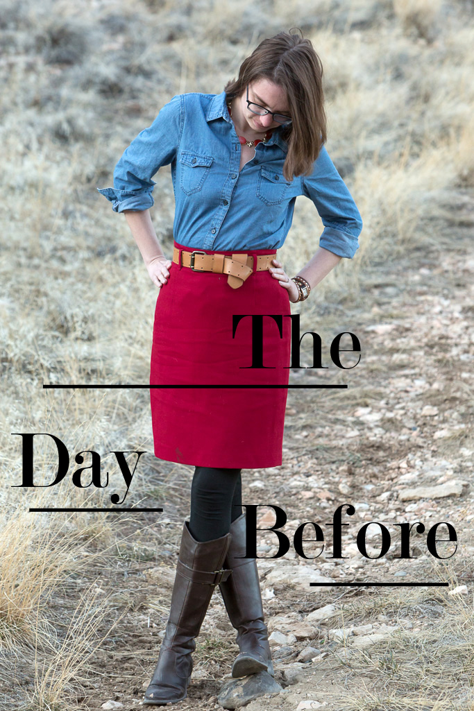 red, blue, chambray shirt, pencil skirt, wyoming, never fully dressed, withoutastyle, outfit,