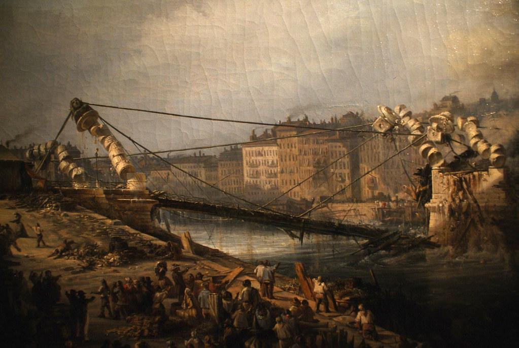 L'effondrement de la passerelle Saint Vincent (?) sur la Saône à Lyon. Tableau du musée Gadagne à Lyon.