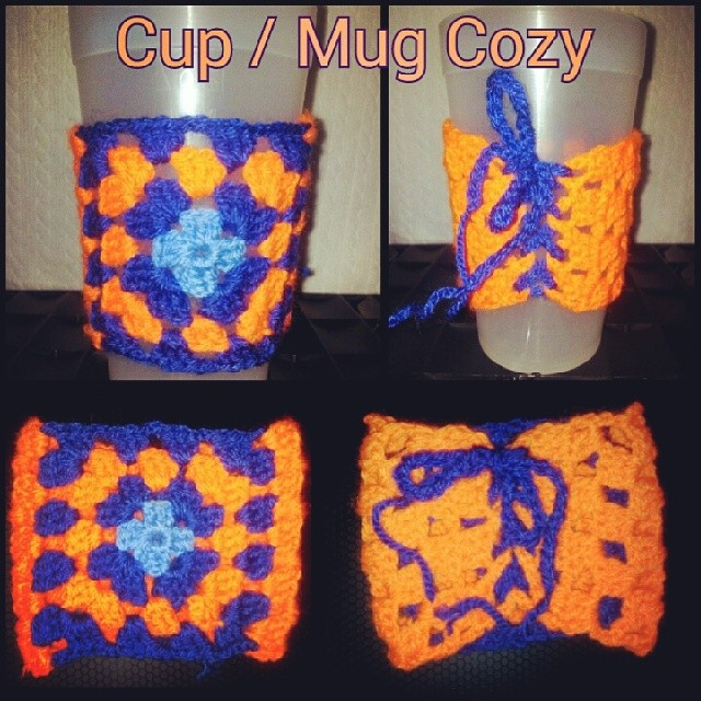 Fabulous colors of Orange and Blue for my adjustable cup / coffee mug /beer cozy. Order one for your favorite fan today!  https://www.etsy.com/ie/shop/PhoenixRoseDesign  #auburn #blue #orange #crochet #custom #etsy #PhoenixRoseDesign #handmade #followme