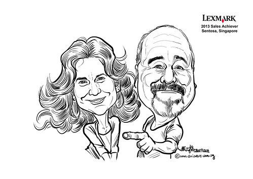 digital couple caricatures for Lexmark - Mark Eifler