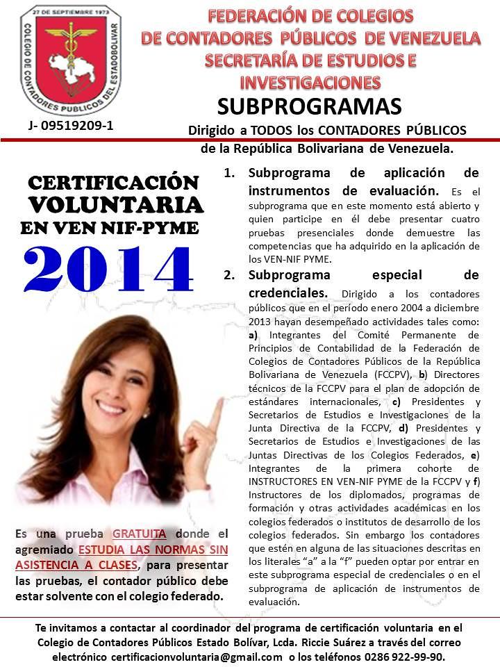 Certificación Voluntaria (2014) en VEN NIF-PYMES para Contadores Públicos del Estado Bolívar