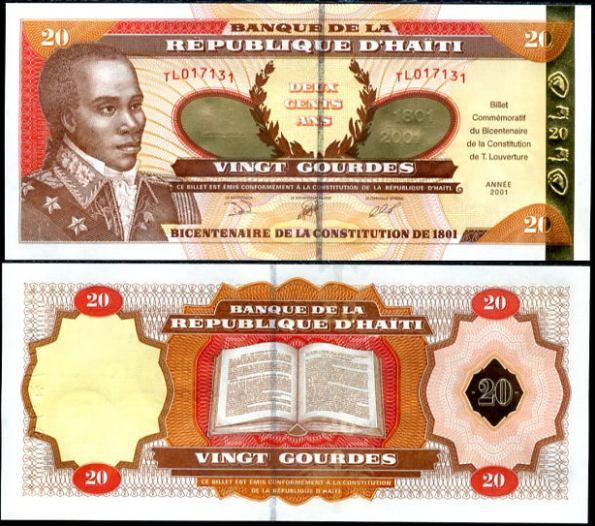 *20 Gourdes Haiti 2001, zlatý pás, Pick 271