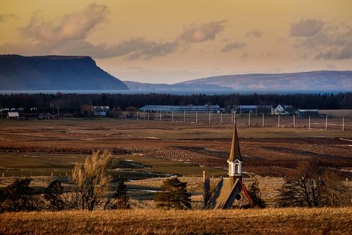 sunset canada color colour church afternoon novascotia fields blomidon grandpre capeblomidon 2015 cans2s fujixe2