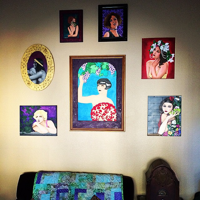 Some of my ladies in the parlor. The top four are for sale! www.etsy.com/shop/glitterforall