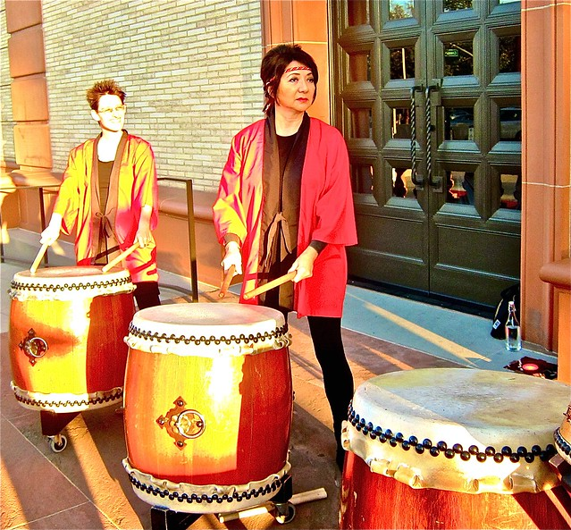 chinese drummers greeted guests