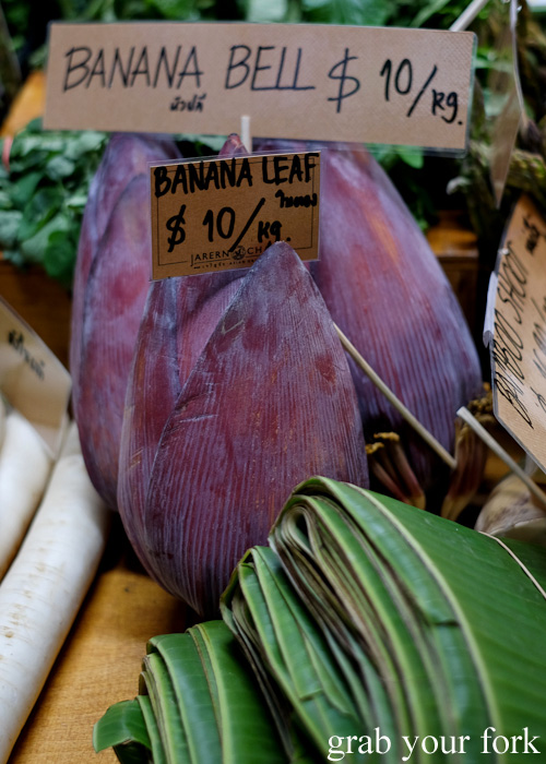 Banana bells and banana leaves at Jarern Chai Asian Grocer, Sydney