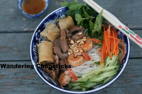 Bun Thit Heo Nuong, Tom, Cha Gio (Vietnamese Rice Vermicelli Noodles with Grilled Pork, Shrimp, and Egg Rolls) 3