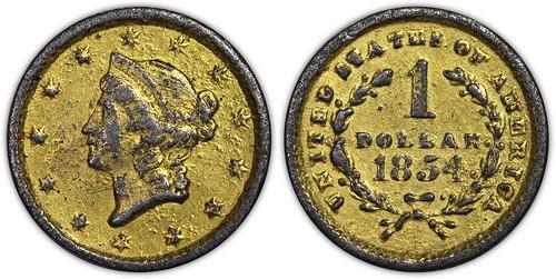 1854 Contemporary Counterfeit Gold Dollar