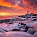 Dramatic Winter Sunrise at Portland Head Light by BenjaminMWilliamson