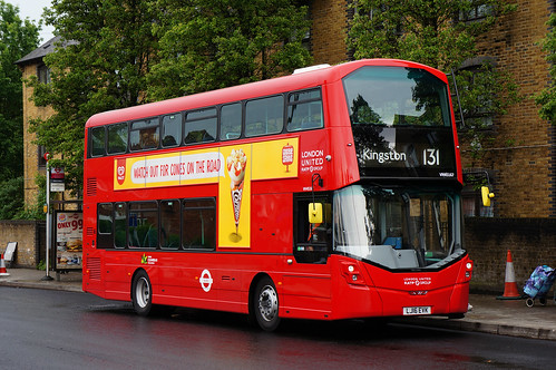 Odd Working; London United VH45167, LJ16 EVK, on route 131 at Merton Abbey | by Drake's Bus Photographs