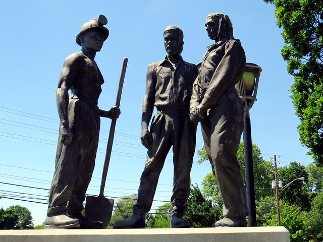 The memorial features buff men who died on the job in Indiana.