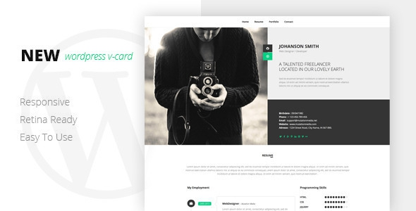 NEW Retina Ready WordPress Vcard Theme v1.0