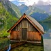 The little boathouse on the Obersee lake in the Berchtesgaden National Park by echumachenco
