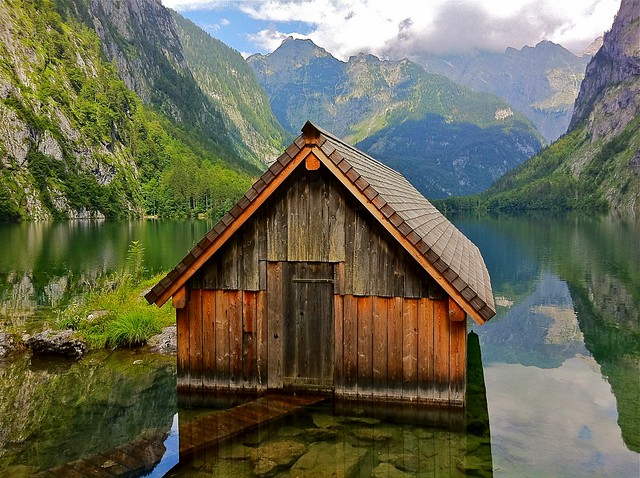 The little boathouse on the Obersee lake in the Berchtesgaden National Park