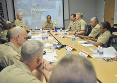 Adm. Cecil D. Haney, commander of U.S. Pacific Fleet, speaks with U.S. Pacific Fleet Master Chief (AW/IDW) Marco Ramirez, force master chiefs and command master chiefs during a round-table discussion as part of a Senior Enlisted Training Symposium. (U.S. Navy photo by Mass Communication Specialist 1st Class Amanda Dunford)