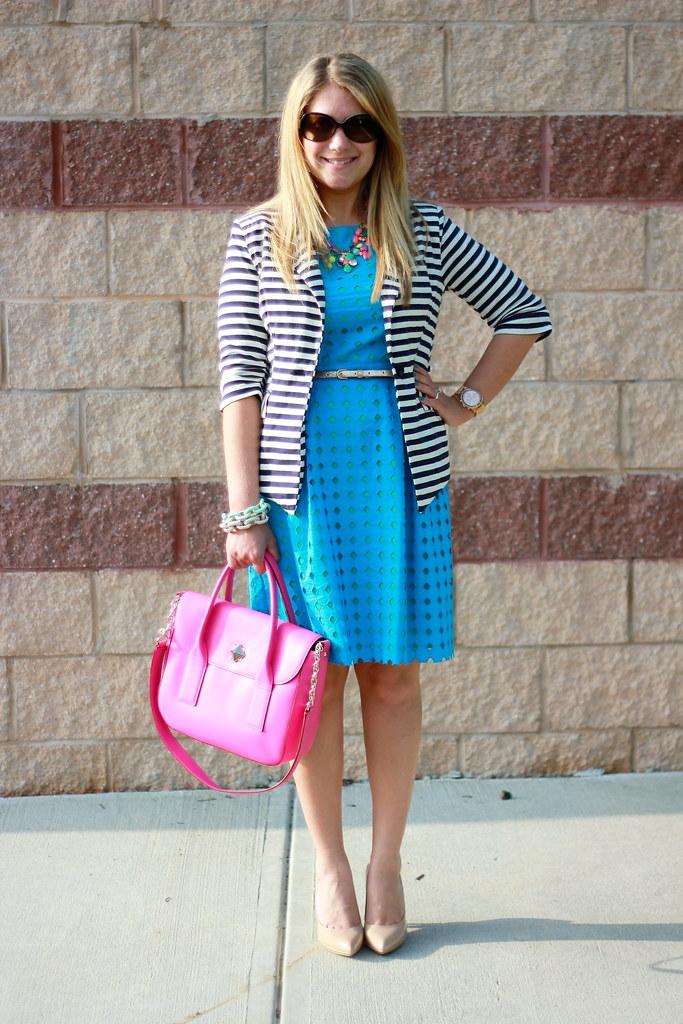 LOFT Teal Eyelet Dress & Striped Blazer spring outfit