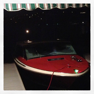 boat docked at night